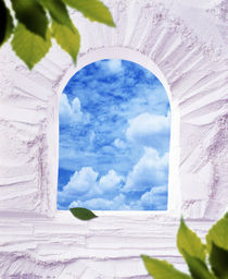 White plaster arched window with blue sky and clouds greenery in the corner von Panoramic Images