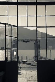 Ferry station at the lakeside, Cannobio, Lake Maggiore, Piedmont, Italy by Panoramic Images