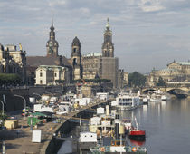 Tourboats in a river, Dresden, Germany von Panoramic Images