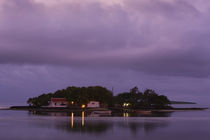 Houses on an island at dusk, Ile Mouchoir Rouge Island, Mahebourg, Mauritius von Panoramic Images