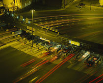 High angle view of traffic at a toll booth, USA by Panoramic Images