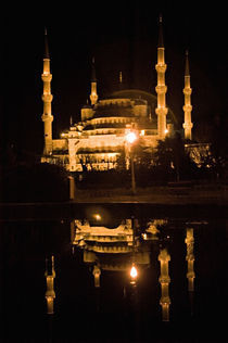 Mosque lit up at night, Blue Mosque, Istanbul, Turkey by Panoramic Images