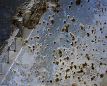 Bullet holes on the wall of a mosque, Syria von Panoramic Images