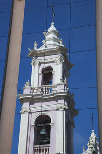 Reflection of a cathedral on a window, Salta Cathedral, Salta, Argentina von Panoramic Images