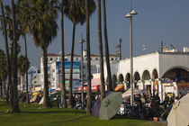 Market stalls along a boardwalk, Venice, Los Angeles, California, USA by Panoramic Images