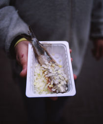 Mid section view of a man holding a tray of raw herring with onions von Panoramic Images