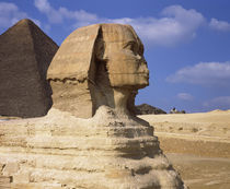 The Sphinx with pyramid in the background by Panoramic Images