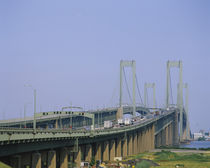 Traffic on a bridge, Delaware Memorial Bridge, Delaware River, Delaware, USA by Panoramic Images