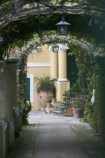 Lanterns hanging in a garden, Capri, Naples, Campania, Italy von Panoramic Images