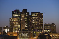 Skyscrapers lit up at dusk, Boston, Massachusetts, USA von Panoramic Images