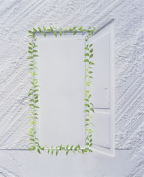 White plaster frame with an open door  von Panoramic Images