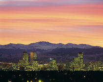 Skyline and mountains at dusk, Denver, Colorado, USA by Panoramic Images