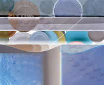 Abstract with white pole surrounded by watery blue and bubbles by Panoramic Images