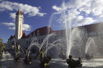 Fountains in front of a railroad station von Panoramic Images