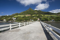 Pier leading towards a village, Vieux Grand Port, Lion Mountain, Mauritius by Panoramic Images