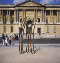 Metal sculpture in front of a building, Place de la Concorde, Paris, France von Panoramic Images