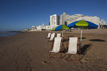 Deck chairs on the beach, Playa Brava, Punta Del Este, Maldonado, Uruguay von Panoramic Images