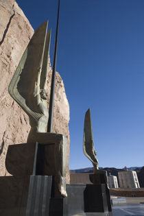 Statues at a dam, Boulder City, Hoover Dam, Nevada, USA by Panoramic Images