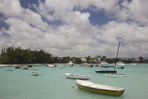 Boats in the sea with a village in the background by Panoramic Images