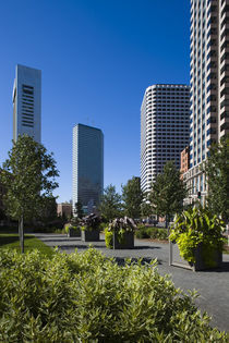 Skyscrapers in a city, Atlantic Avenue Greenway, Boston, Massachusetts, USA by Panoramic Images