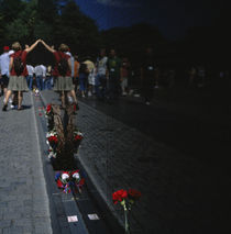 Tourists at a memorial, Vietnam Veterans Memorial, Washington DC, USA by Panoramic Images