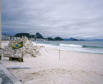Sand castle on the beach, Copacabana Beach, Rio De Janeiro, Brazil by Panoramic Images
