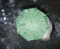 High angle view of a person standing under an umbrella, Germany von Panoramic Images