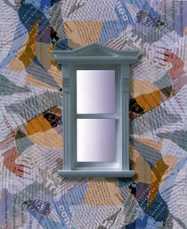 Grey window frame with light through panes floating on collage of fabric by Panoramic Images
