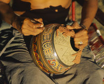 Mid section view of a person etching a pottery, Costa Rica von Panoramic Images