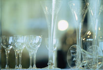Close-up of wine glasses and champagne flutes, La Scene, Prague, Czech Republic von Panoramic Images