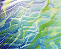 Abstract steaks of green, blue, lavender and white in blowing fabric by Panoramic Images