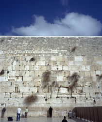 Group of people praying in front of a wall, Western Wall, Jerusalem, Israel by Panoramic Images