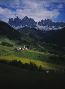 High angle view of a church on a landscape von Panoramic Images