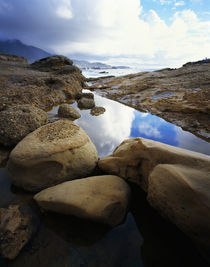 Shoreline rocks and reflective tide pool von Panoramic Images
