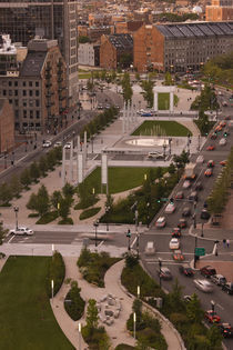 High angle view of a city, Atlantic Avenue Greenway, Boston, Massachusetts, USA von Panoramic Images