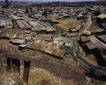 High angle view of huts in a shanty town, Kibera, Nairobi, Kenya by Panoramic Images