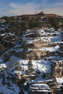 High angle view of South Rim and El Tovar Hotel by Panoramic Images