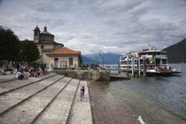 Ferry at a harbor, Cannobio, Lake Maggiore, Piedmont, Italy von Panoramic Images