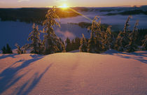 Sunrise over snowy slope by Panoramic Images