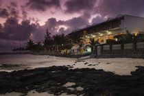 Hotel on the beach at dusk, Blue Lagoon Beach Hotel, Blue Bay, Mauritius by Panoramic Images
