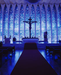 Silhouette of a crucifix in a church, Dom Bosco Sanctuary, Brasilia, Brazil by Panoramic Images