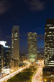 City lit up at dusk, Atlantic Avenue Greenway, Boston, Massachusetts, USA by Panoramic Images