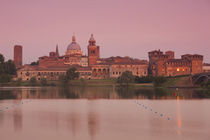 Town at the waterfront, Ducal Palace, Lago Inferiore, Mantua, Lombardy, Italy von Panoramic Images