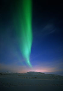 Aurora borealis over a snowy landscape, Iceland by Panoramic Images