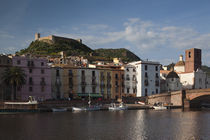 Buildings at the waterfront, Ponte Vecchio, Temo River, Bosa, Sardinia, Italy by Panoramic Images