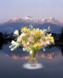 Bouquet of flowers in clear vase with trees and snow capped mountains von Panoramic Images