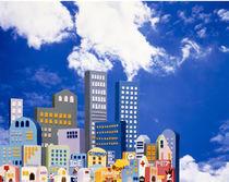 Cartoonish city skyline von Panoramic Images