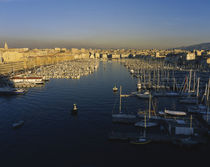High angle view of boats at an old port, Marseille, France by Panoramic Images