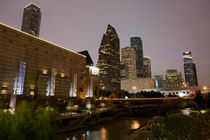 Buildings lit up at dusk, Wortham Theater Center, Houston, Texas, USA by Panoramic Images