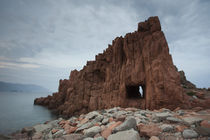 Rock formation on the coast, Rocce Rosse, Arbatax, Ogliastra, Sardinia, Italy by Panoramic Images